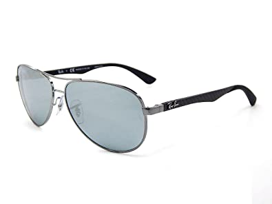 1b55f8794be Image Unavailable. Image not available for. Color  Ray Ban Carbon Fibre  RB8313 004 K6 Shiny Gunmetal   Blue Mirror Silver ...