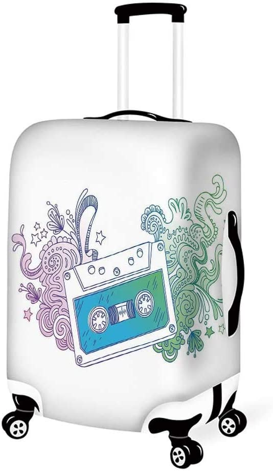 Doodle Stylish Luggage Cover,Cute Little Bird with a Giant Flower on a Dotted Background Retro Inspired Print for Luggage,L 26.3W x 30.7H