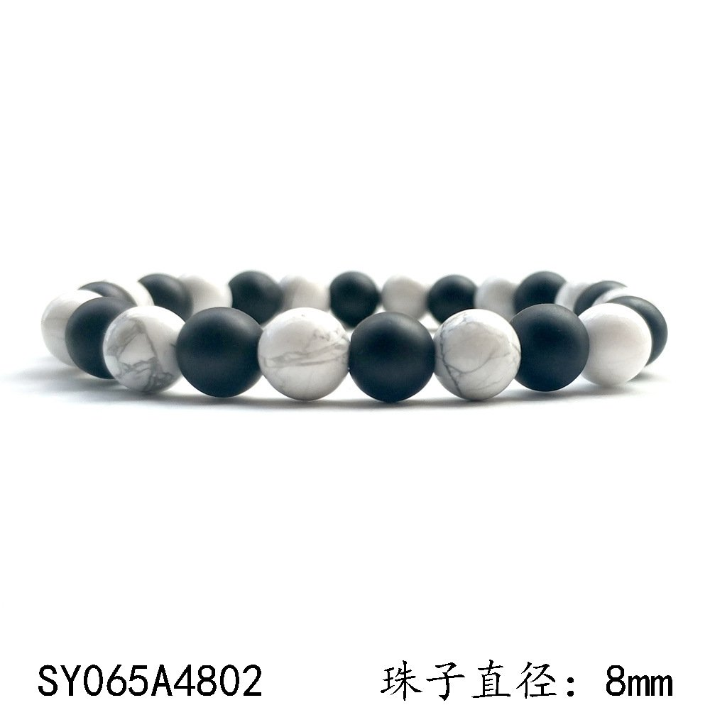 Burenqi ブレスレットホワイトパインマットブラック瑪瑙天然石ブレスレット卸売業、B   B07DJB1PZ1