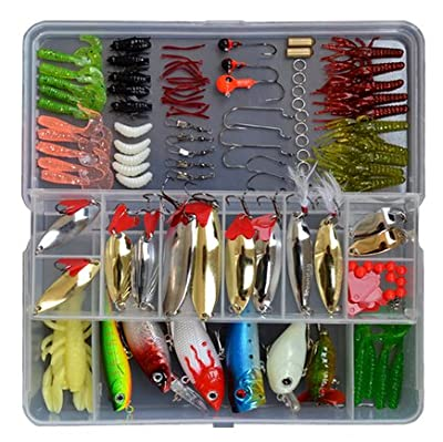 129 Pcs in a Box Fishing Lures Tackle Soft Hard Bait Sequins Bait Bionic Fishing Lures for Fishing Lovers
