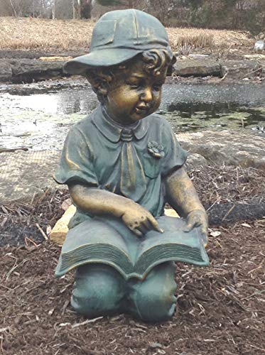 Green Vista Water Gardens Reading Boy Statue 9x9x18 Inches - Beautiful, Detailed Sculpture for Garden, Pond or Porch, Antique Bronze Style Finish, Durable (Reading Boy Statue Garden)