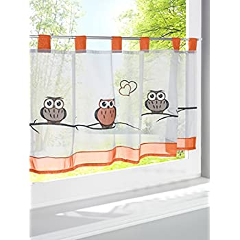 LivebyCare Owl Embroidered Window Curtain Tier and Valance Tab Top Semi Sheer Window Treatment Voile Drape Drapery Panels for Drawing Room Decor Decorative