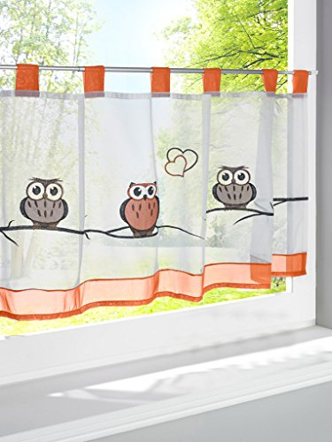 LivebyCare Owl Embroidered Window Curtain Tier and Valance T