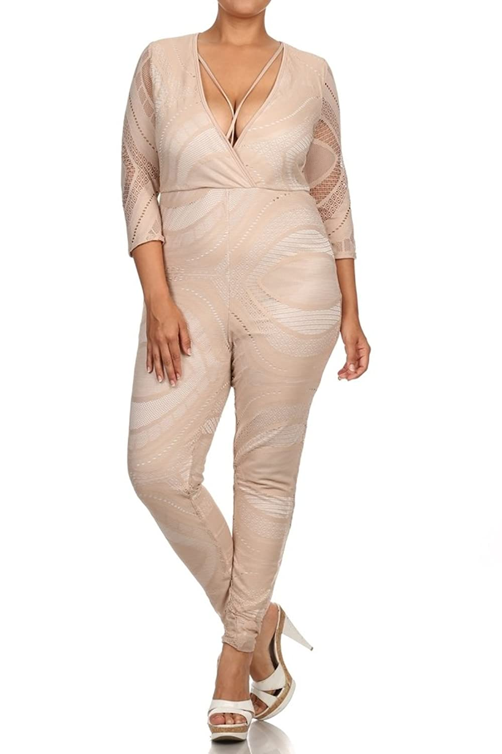 (Plus Size) One Shoulder Wide Leg Double Slit Wrap Jumpsuit (MADE IN U.S.A)