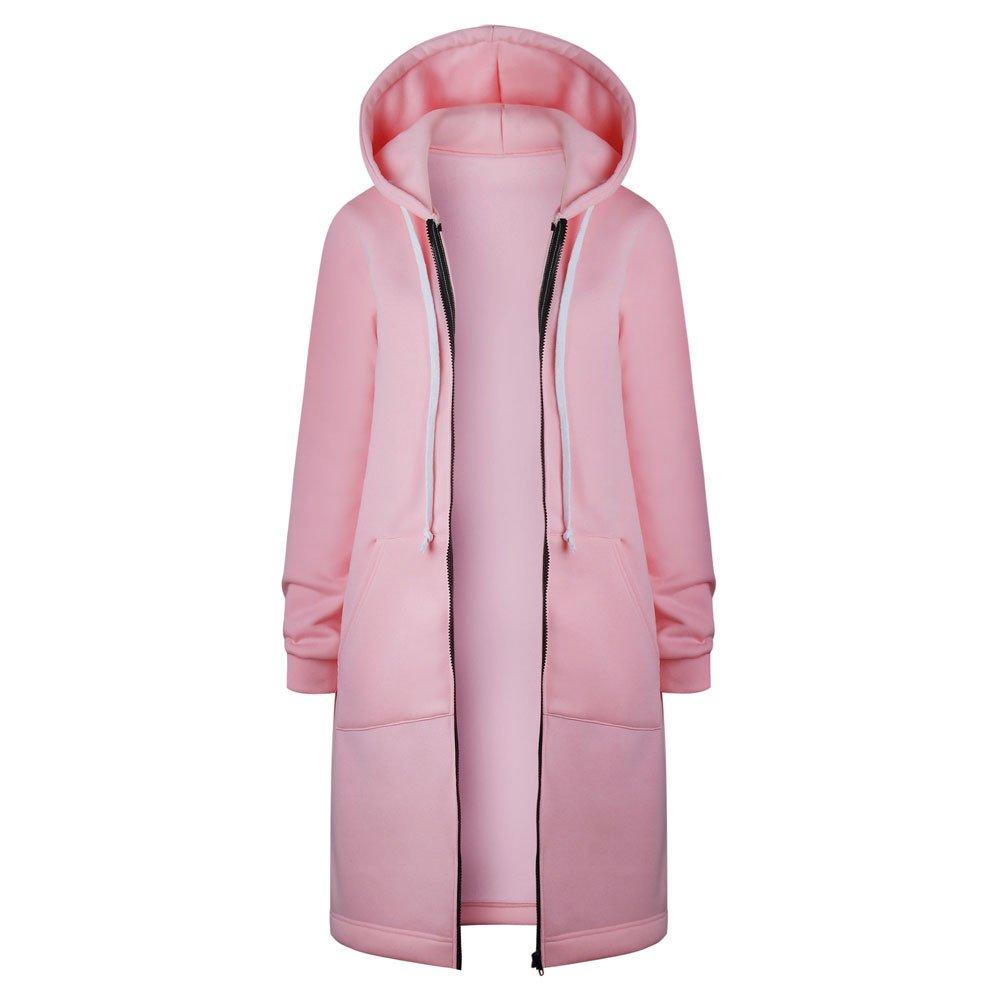 iYBUIA Autumn Winter Women Warm Zipper Open Hoodies Sweatshirt Long Coat Jacket Tops Outwear with Pockets(Pink,XL)