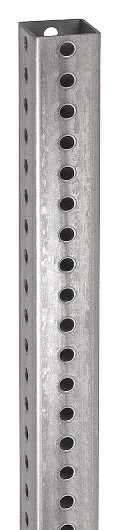Tapco 1603-00004 Galvanized Steel Square Post, 12' Length x 2'' Width x 2'' Depth x 0.075'' Thick