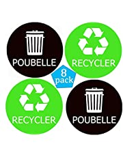 8 Pack Recycler l'étiquette de Poubelle autocollant 4x4 inch French Recycle Trash Sticker Waterproof Organize&Coordinate Garbage Waste from Recycling