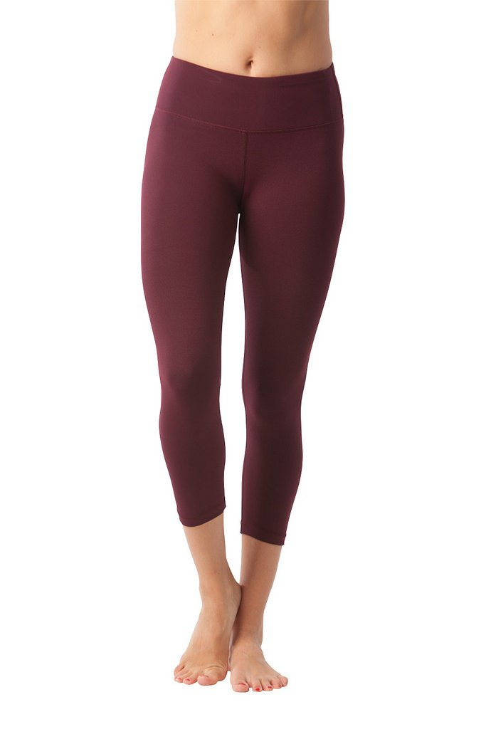 90 Degree By Reflex Yoga Capris - Yoga Capris for Women - Hidden Pocket - Burgogne - XS
