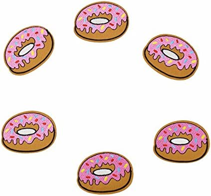 Yalulu 20 Pcs Pink Donuts Pattern Embroidered Iron On Sew On Badge Applique Patch For Clothing