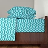 Roostery Clubs 4pc Sheet Set Clover's Clubs In Teal by Siya Queen Sheet Set made with