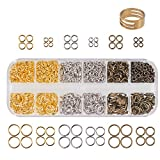 PandaHall Elite About 1290 Pcs Brass Open Jump Rings O Ring Unsoldered Diameter 4mm 6mm 8mm 10mm Jewelry Making 3 Colors