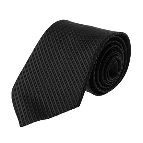 (BYNNIX Mens Solid Color Neck Ties Striped Luxury Classic Jacquard Woven Gentleman Decor-Various Colors (Black) )