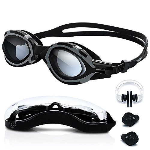 Swimming Goggles - High-Definition Clear [Anti Fog] [UV Protection] [Anti Shatter] [No Leaking] Silicone Straps Quick Release Technology Triathlon Surfing Protection Case Men Women Boy by - Dark Band Sunglasses After