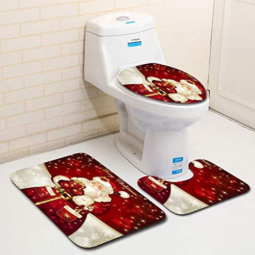 YOHOXY 3 Piece Merry Christmas Bath Mat Set, Bathroom Mats Set Non-Slip Bathroom Rugs/Contour Mat/Toilet Cover Santa Claus