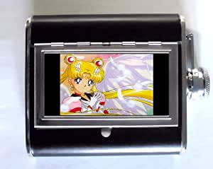Pretty Sailor Moon Manga Whiskey and Beverage Flask, ID Holder, Cigarette Case: Holds 5oz Great for the Sports Stadium!