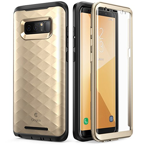 Samsung Galaxy Note 8 Case, Clayco [Hera Series] Full-body Rugged Case with Built-in 3D Curved Screen Protector for Samsung Galaxy Note 8 (2017 Release) (Gold)