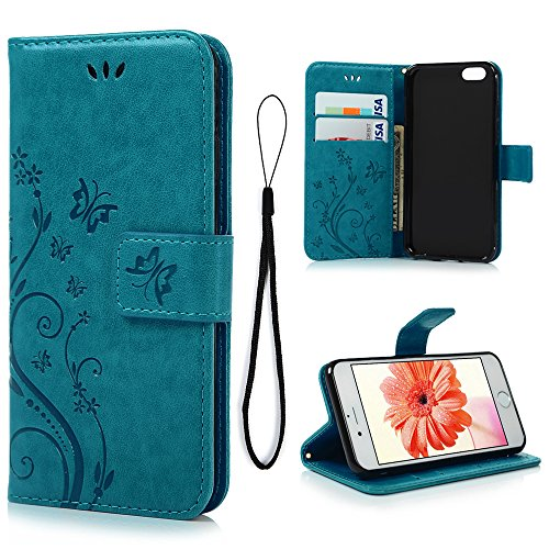 iPhone 6 Case, iPhone 6S Wallet Case (Not for Plus), MOLLYCOOCLE Blue Butterfly Flower PU Leather Wallet Purse Credit Card Holders Magnetic Flip Folio TPU Soft Bumper Ultra Slim Cover for iPhone 6/6S