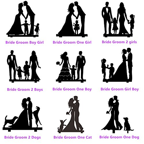 Wedding Anniverary Family Cake Topper Toppers Kids Cat Dog (Color Style Customized)