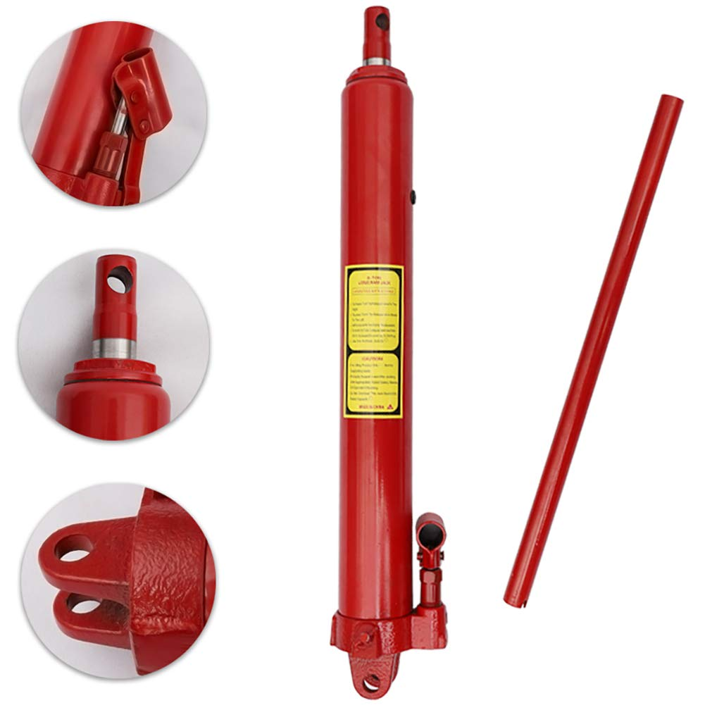 Red DKIEI 8 Ton Hydraulic Jack Long Ram Arm Replacement Engine Hoist Engine Crane