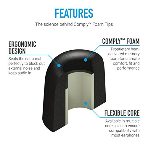 Comply Isolation Noise Cancelling Memory Foam Earphone Tips