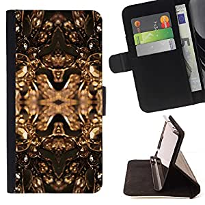 For Apple Iphone 4 / 4S Copper Golden Bling Brilliant Jewels Design Beautiful Print Wallet Leather Case Cover With Credit Card Slots And Stand Function