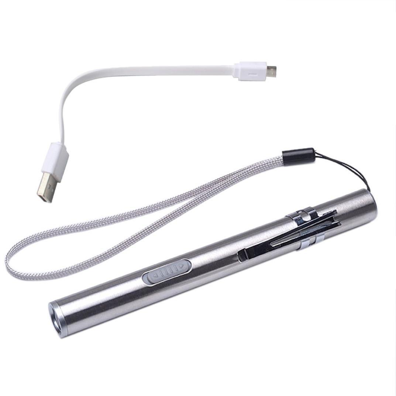 Rcool Mini Portátil USB Recargable linternas LED Impermeable linterna llavero lámpara (Plateado)