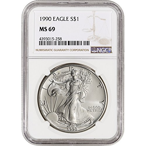 1990 American Silver Eagle (1 oz) Large Label $1 MS69 NGC - 1990 American Silver Eagle