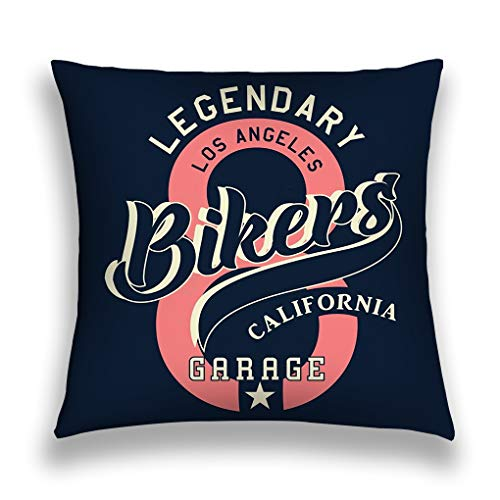 zexuandiy Pillow Covers Decorative 18x18 in Pillowcase Cushion Covers Zipper Legendary Los Angeles Bikers California Graphic pr -