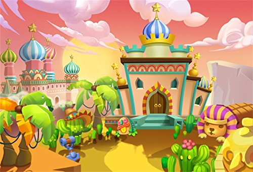 CSFOTO 8x6ft Background for Desert City Palaces Photography Backdrop Cartoon Royal Residences Scene Fantasy Cactus Mexican Hat West Style Child Kid Portrait Photo Studio Props Vinyl Wallpaper -