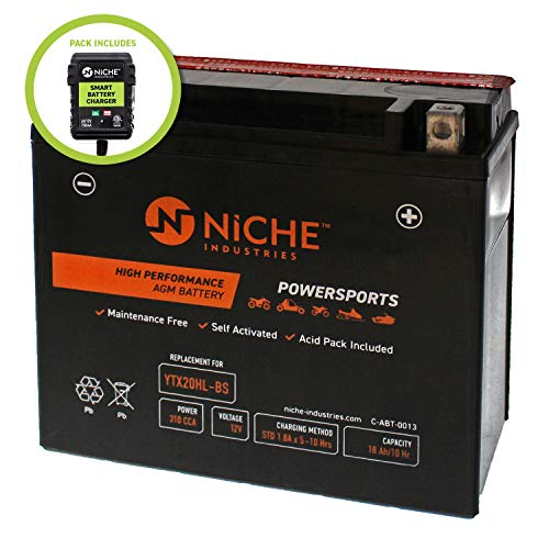 NICHE AGM Replacement Battery for YTX20HL-BS with 12V 750mA Maintainer Charger | 310CCA, 12V, Self Activated | ATV, Motorcycle, Snowmobile | For Harley-Davidson, Honda & more ()