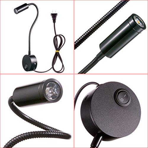 WannaBi Flexible Plug Wired 3 Watts 3W Gooseneck Led Wall Light Sconce Lamp Lighting for Bedroom Reading Bathroom by WannaBi (Image #9)