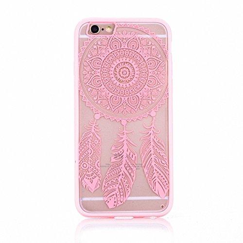 König-Shop Handy Hülle Mandala für Apple iPhone 8 Plus Design Case Schutzhülle Motiv Traumfänger Cover Silikon Tasche Bumper Rosa