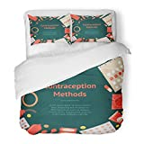 SanChic Duvet Cover Set Cartoon Contraception Method Circle on Dark Safe Sex Man Fomen Flat Design Style Decorative Bedding Set 2 Pillow Shams King Size