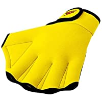 Guantes de entrenamiento de natación Speedo Aqua Fit, amarillo UV, pequeños