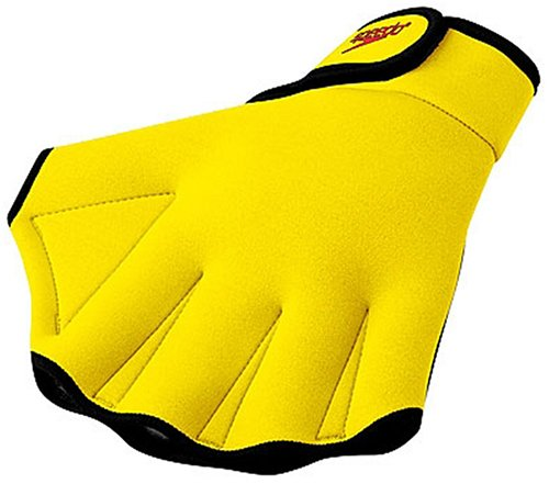 Speedo Aqua Fit Swim Training Gloves, UV Yellow, Small Webbed Aqua Gloves