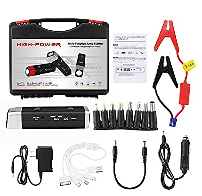 Portable Car Battery Jump Starter Set, Car Battery Charger 12000mAH with Cable Clamps for Car Jump Start, Phone Charge, Notebook Charge, Flashlight