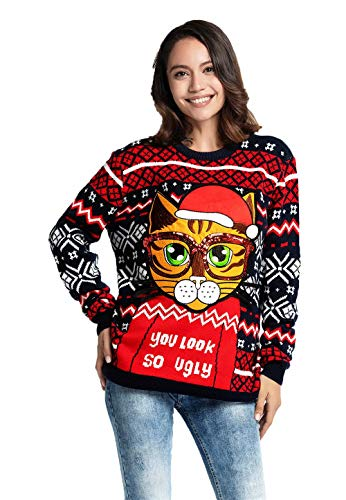 Women's Ugly Christmas Sweater Funny Cute Kitty Pullover - Hello Rude Kitty, -