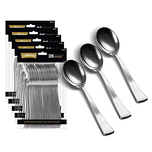 130 Silver Plastic Spoons | Heavy Duty Plastic Silverware Spoons | Fancy Plastic Cutlery | Elegant Disposable Spoons Pack | Bulk Disposable Flatware | Plastic Utensils Set | Nice Disposable Silverware