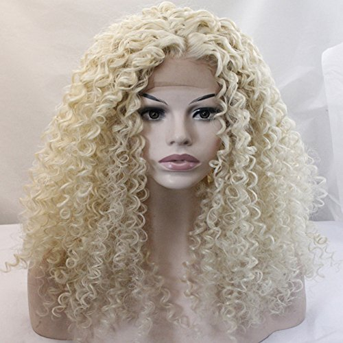 Yesui Loose Curly Wig Synthetic Lace Front Wigs Long Fluffy Wig Heavy Density Heat Resistant Fiber Hair Blonde