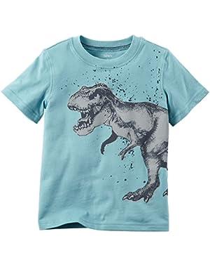 Boys Short Sleeve Dinosaur Graphic Tee: Blue (3 Months)