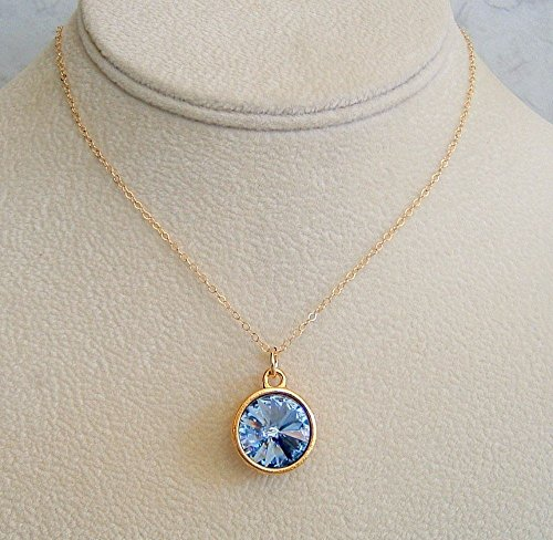 Blue Rivoli Pendant Gold Filled Necklace Simulated Light Sapphire 24 Inch Made w/Swarovski Crystal Gift (Gold Filled Costume)