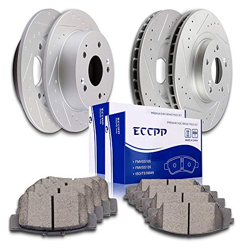 ECCPP Front Rear Discs Brake Rotors and Ceramic Pads Brake Kit for 2002 2003 2004 2005 2006 Acura RSX Type S ()