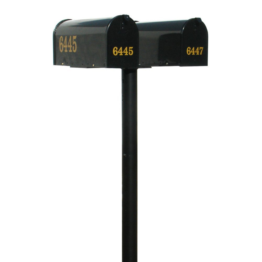 The Hanford Cast Aluminum Twin Mailbox Post System with 2 E1 Mailboxes and Mounting Bracket, Ships in 2 boxes by Qualarc (Image #1)