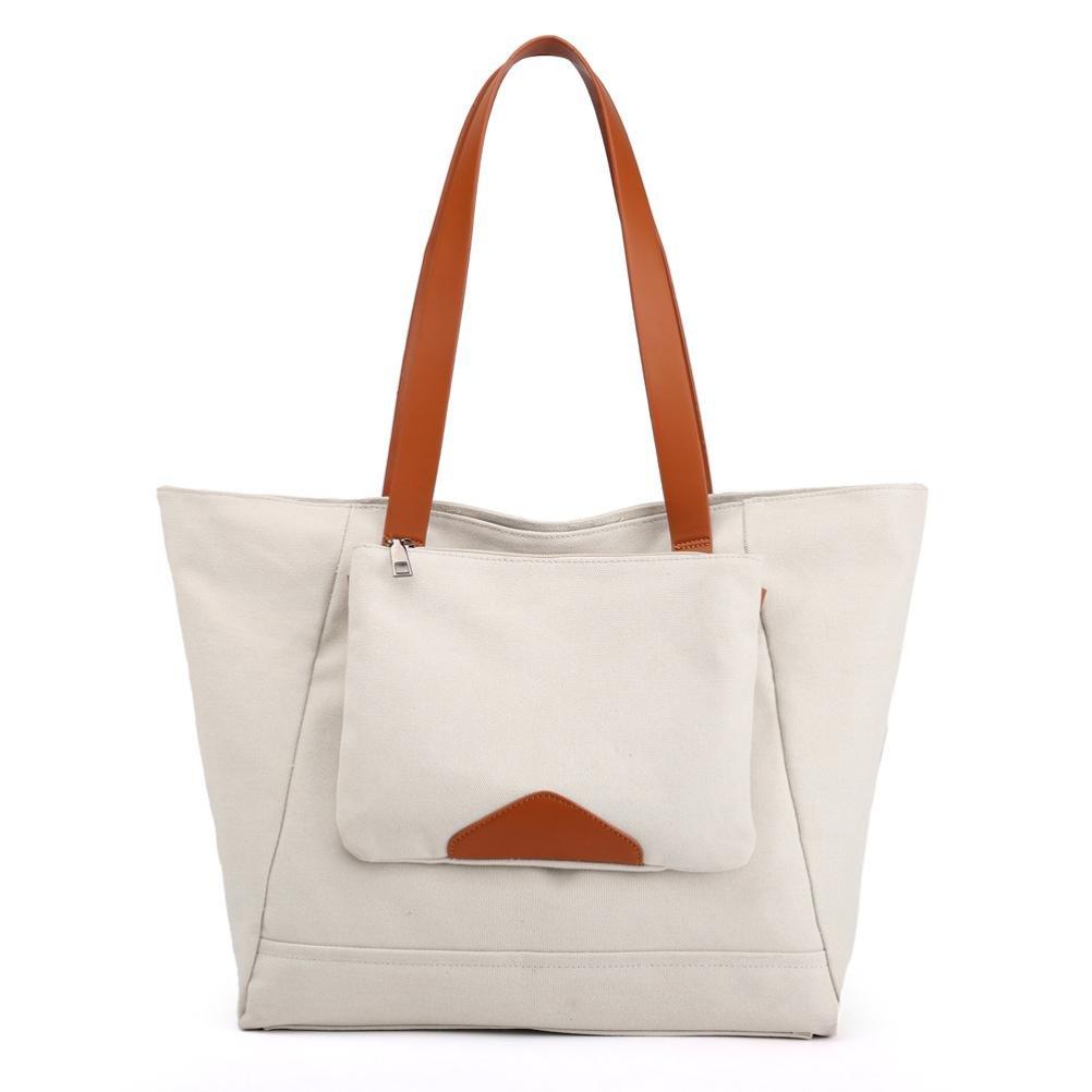 Women Shoulder Bags, Neartime 2018 New Leisure Shopping Travel Soft Canvas Handbags Large Capacity Vintage Satchels (35cm(L)×15cm(W)×3cm(H), Beige)