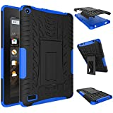 Fire 7 2015 Case, Amazon Fire 7 Case, NOKEA Hybrid Heavy Duty Armor Protection Cover [Anti Slip] [Built-In Kickstand] Skin Case For Amazon Fire 7 5th Generation 2015 Release Tablet (Blue)