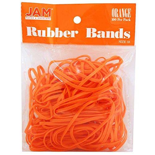 JAM Paper® Rubber Bands - Regular Size 33 - Orange - 100 Color Rubber Bands Per Pack