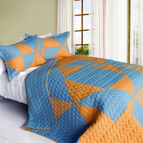 [Beautiful Faith] 3PC Vermicelli-Quilted Patchwork Quilt Set (Full/Queen Size) by ONITIVA