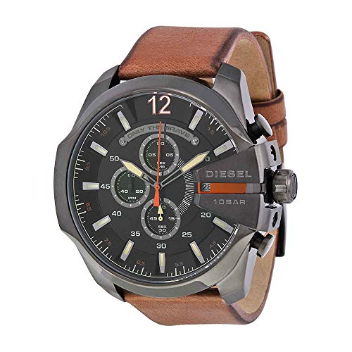 Watch Diesel Chronograph (Diesel Men's Mega Chief Quartz Stainless Steel and Leather Chronograph Watch, Color: Black, Brown (Model: DZ4343))