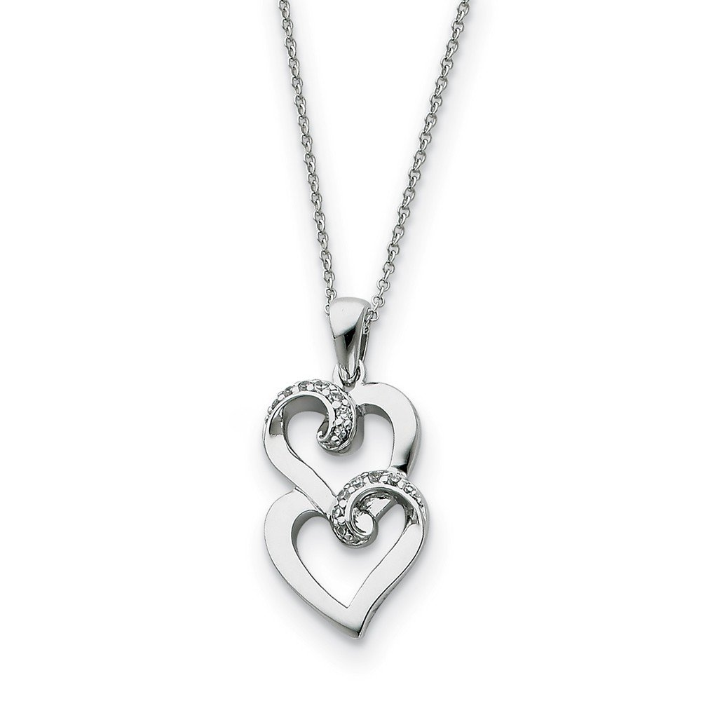 18 Inch Rhodium Plated Sterling Silver /& CZ Sisters Double Heart Necklace Friends Forever
