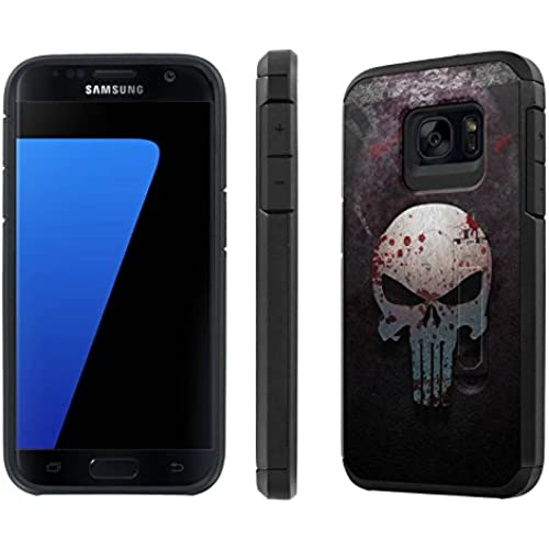 Galaxy [S7] [5.1 Screen] Defender Hybrid Case [SlickCandy] [Black/Black] Dual Layer Protection [Kick Stand] [Shock Proof] Phone Case - [Punisher] for Samsung Sales